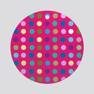 Polka Dots on Hot Pink Ornament (Round)