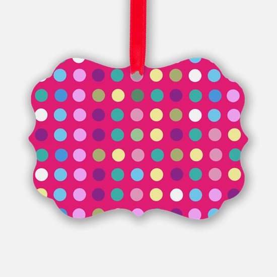 Polka Dots on Hot Pink Ornament