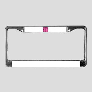 Polka Dots on Hot Pink License Plate Frame