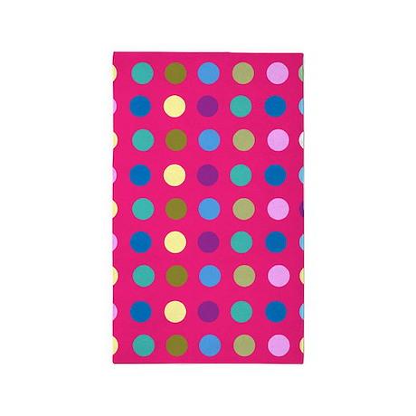 Polka Dots On Hot Pink 3u0027x5u0027 Area Rug