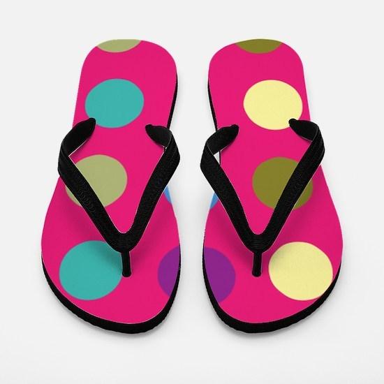 Polka Dots on Hot Pink Flip Flops