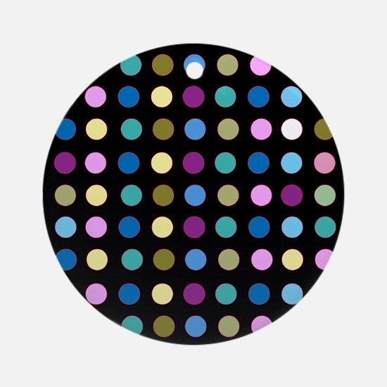 Polka Dots on Black Ornament (Round)