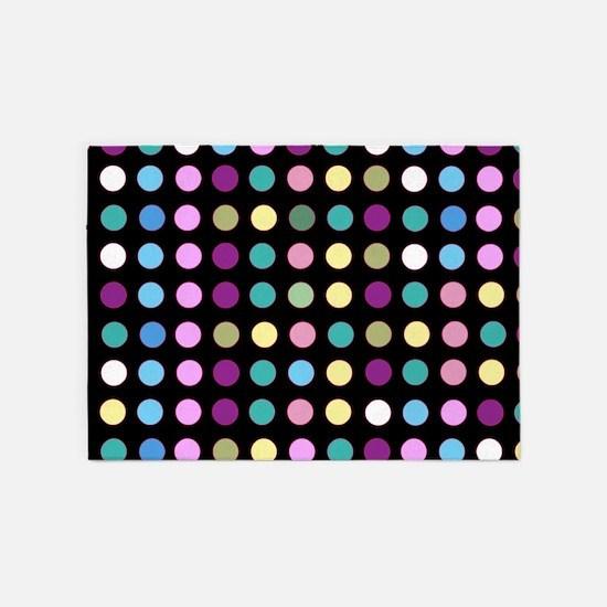 Polka Dots on Black 5'x7'Area Rug