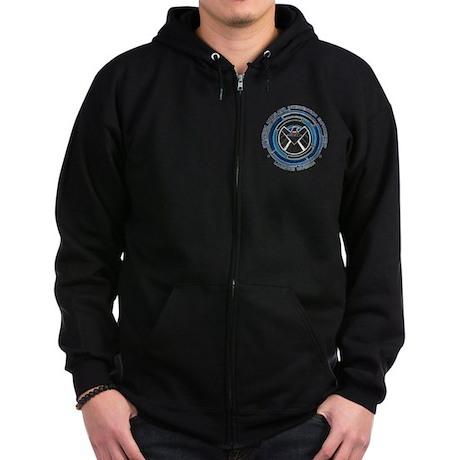 Distressed Shield Zip Hoodie (dark)