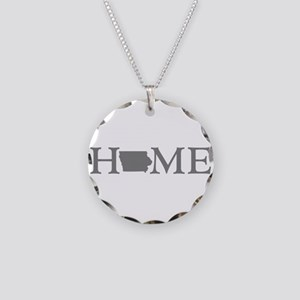 Iowa Home Necklace Circle Charm