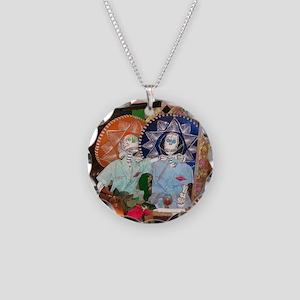 Dia de los Muertos Necklace Circle Charm