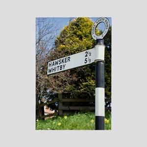Old signpost in Robin Hoods Bay Rectangle Magnet