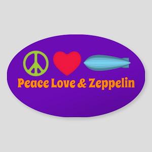 Peace Love & Zeppelin Sticker (oval)