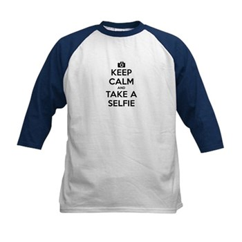 Keep Calm and Take a Selfie Kids Baseball Jersey