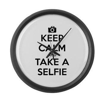 Keep Calm and Take a Selfie Large Wall Clock