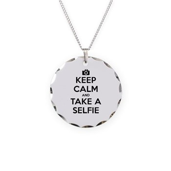 Keep Calm and Take a Selfie Necklace Circle Charm