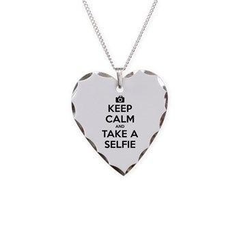 Keep Calm and Take a Selfie Necklace Heart Charm