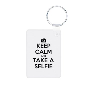Keep Calm and Take a Selfie Aluminum Photo Keychai