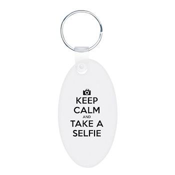 Keep Calm and Take a Selfie Aluminum Oval Keychain
