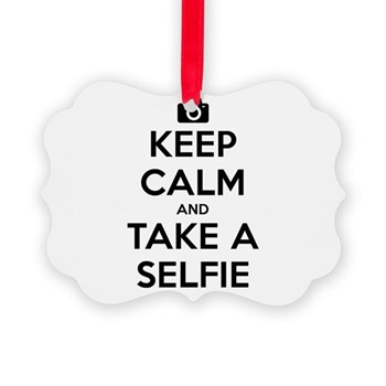 Keep Calm and Take a Selfie Picture Ornament