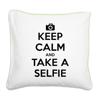 Keep Calm and Take a Selfie Square Canvas Pillow