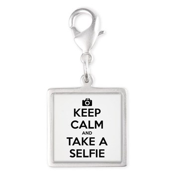 Keep Calm and Take a Selfie Silver Square Charm