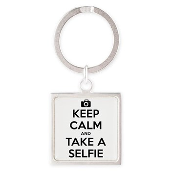 Keep Calm and Take a Selfie Square Keychain