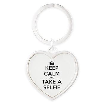 Keep Calm and Take a Selfie Heart Keychain