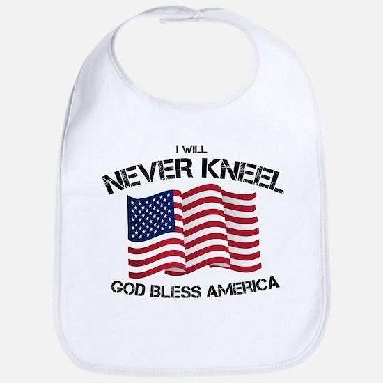 I will never kneel God Bless America Flag Baby Bib