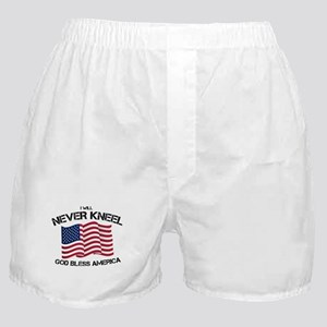 I will never kneel God Bless America Boxer Shorts
