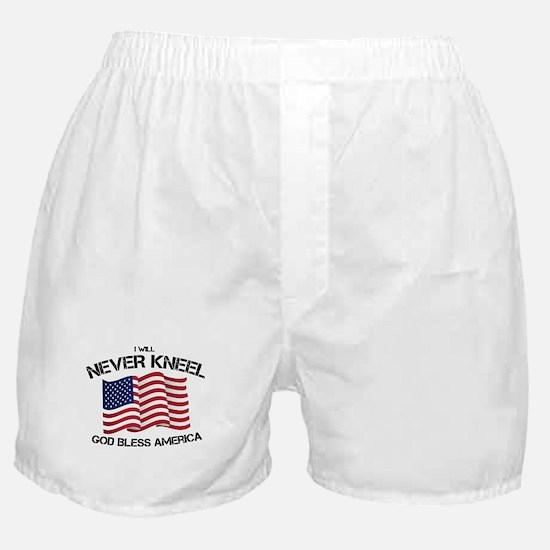 I will never kneel God Bless America Boxer Shorts