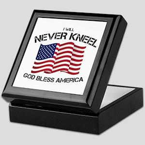 I will never kneel God Bless America Keepsake Box