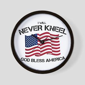 I will never kneel God Bless America Fl Wall Clock