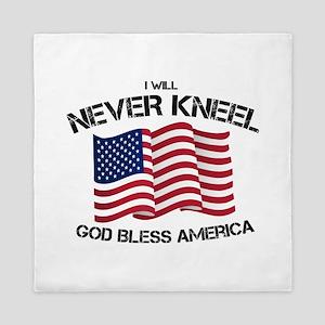 I will never kneel God Bless America F Queen Duvet
