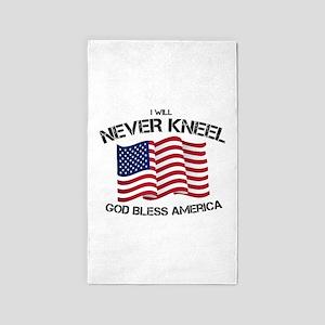 I will never kneel God Bless America Flag Area Rug