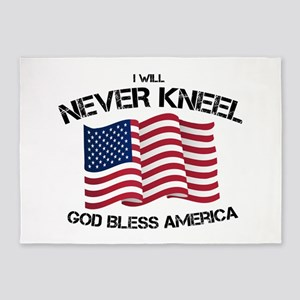 I will never kneel God Bless Americ 5'x7'Area Rug