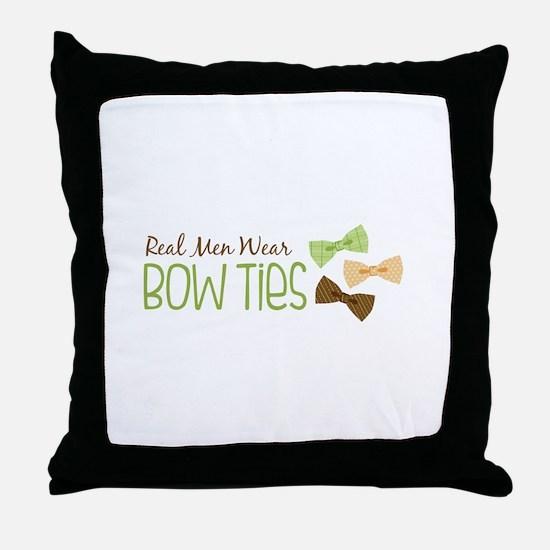 Real Men Wear Bow Ties Throw Pillow