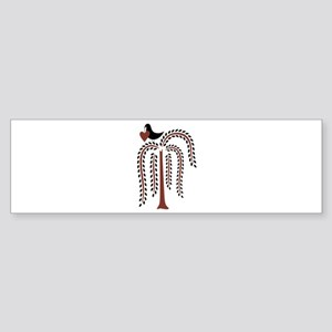 Primitive Country Willow Tree Crow Bumper Sticker