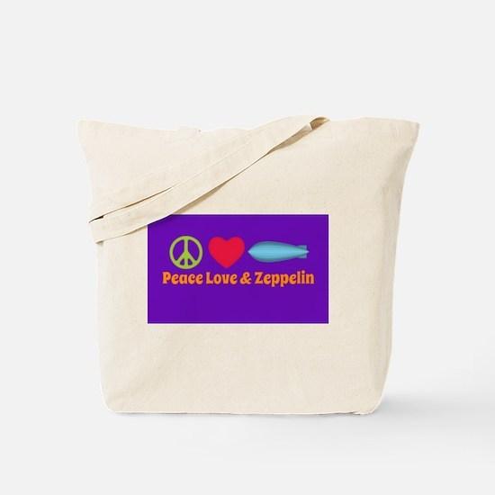 Peace Love & Zeppelin Tote Bag