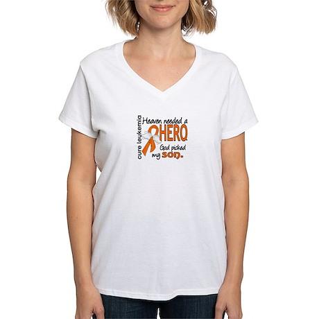 Leukemia Heaven Needed Hero Women's V-Neck T-Shirt