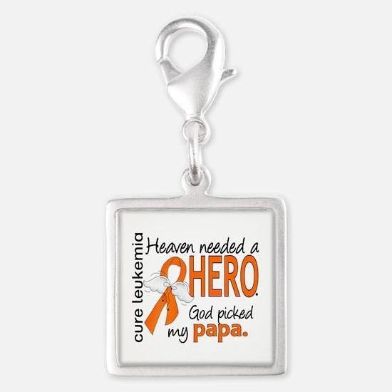 Leukemia Heaven Needed Hero Silver Square Charm