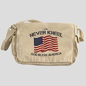 I will never kneel God Bless America Messenger Bag