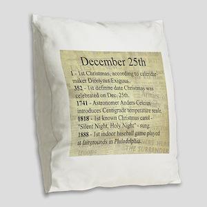 December 25th Burlap Throw Pillow