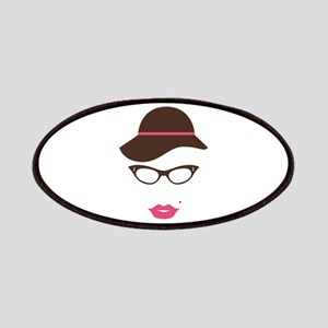 Classy Lady Hat Lipstick Eyeglasses Patches