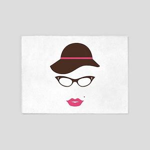 Classy Lady Hat Lipstick Eyeglasses 5'x7'Area Rug