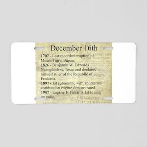 December 16th Aluminum License Plate