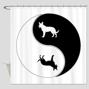 Yin Yang Dog Symbol Shower Curtain