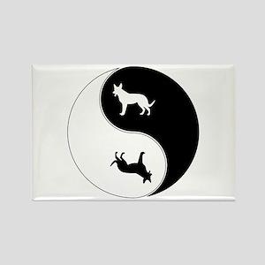 Yin Yang Dog Symbol Rectangle Magnet