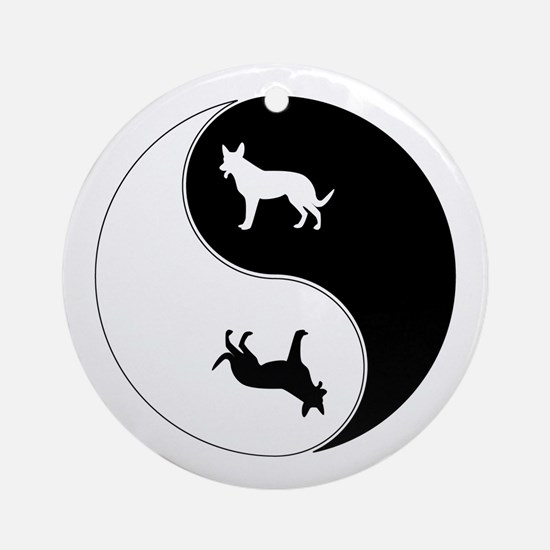 Yin Yang Dog Symbol Ornament (Round)