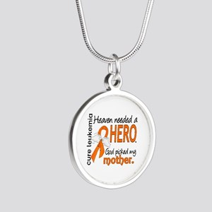 Leukemia Heaven Needed Hero Silver Round Necklace