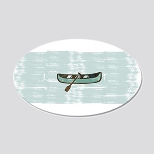 Fisherman Boat Watercolor 20x12 Oval Wall Decal