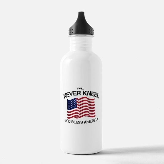 I will never kneel God Sports Water Bottle
