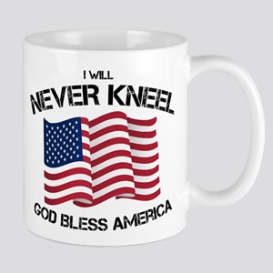 I will never kneel God Bless America Flag Mugs