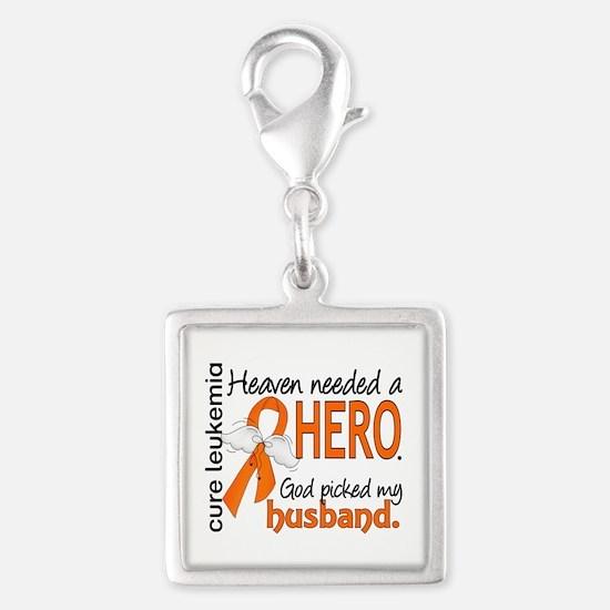 Leukemia Heaven Needed Hero 1 Silver Square Charm