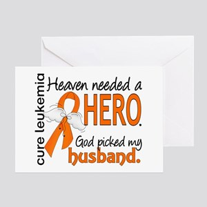 Leukemia Heaven Needed Hero 1.1 Greeting Card